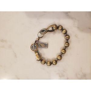 Gucci Bronze Beaded Stamped Bracelet